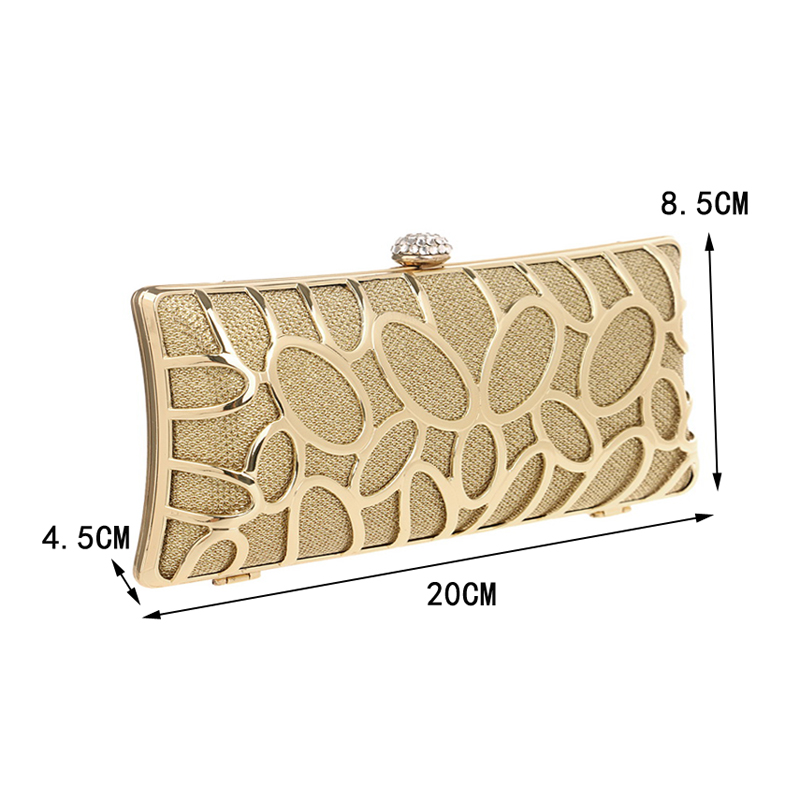 Image 2 - SEKUSA Luxury women evening bags hollow out style diamonds metal clutch purse wedding bridal small handbags for party bagsTop-Handle Bags   -