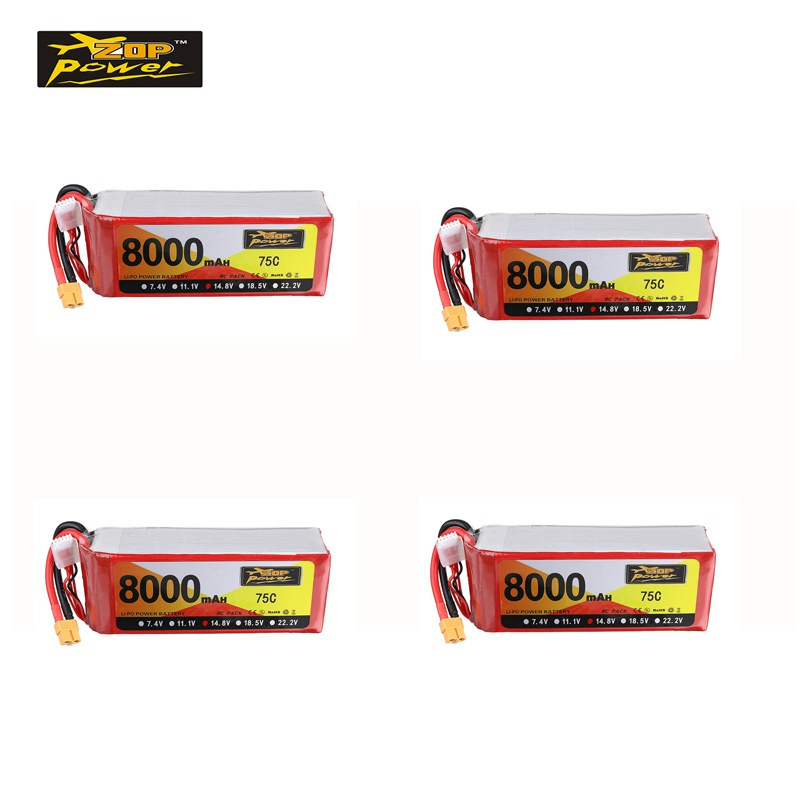 1/2/4 PCS ZOPPower 14.8V <font><b>8000mAh</b></font> 75C <font><b>4S</b></font> <font><b>Lipo</b></font> Battery XT60 Plug For FPV Racing Drone RC Multirotor Spare Part DIY Accessories image