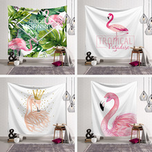 Flamingo Printed Wall Tapestry Macrame Hanging Cloth Big Size Decor Dorm Living Room Pink Background Blanket