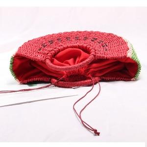Image 5 - Seaside vacation beach straw bag female portable cute watermelon bag new fashion hand woven bag