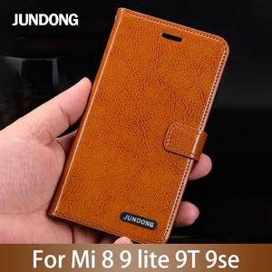 Image 1 - Flip Phone Case For Xiaomi Mi 5s Plus 6 8 9 lite 9se 9T Pro Case Oil wax skin Lanyard Cover