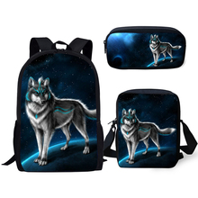 HaoYun Fashion Kids Backpacks Set Moon Wolf Pattern School Bags Cartoon Animal Students 3PCs/Set Backpack/Flaps Bag/Pen