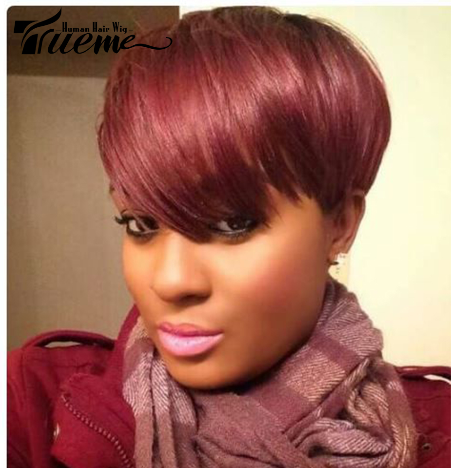 Trueme Pixie Cut Wig For Black Women Brazilian Remy Straight Human Hair Side Part Ombre Full Short Wigs Fashion On Sale