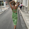 Paisley Print Knitted Dress Women Spaghetti Strap Sexy Bodycon Female Hollow Out Midi Party Dresses Vintage Beach Dress Mujer 2