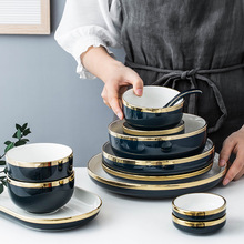 christmas Nordic ins Phnom Penh Ink Ceramic Tableware Set Household Rice Bowl Vegetable Plate Steak and Soup