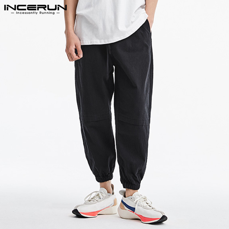 INCERUN Fashion Men Beam Feet Cargo Overalls Male Punk Style Pockets Pants Loose Solid Color Liner Trousers Streetwear 2020