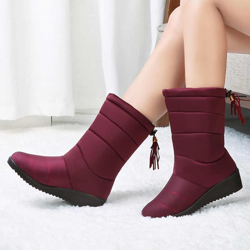 Женские ботинки зимние ботинки водонепроницаемые ботинки до середины икры теплые женские зимние ботинки на меху женские ботиночки женская зимняя обувь Botas Mujer