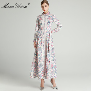 MoaaYina Fashion Designer dress Spring Autumn Women's Dress Long sleeve Lace Floral-Print Slim Elegant Dresses moaayina fashion designer runway dress spring summer women dress spaghetti strap button floral print vacation beach dresses
