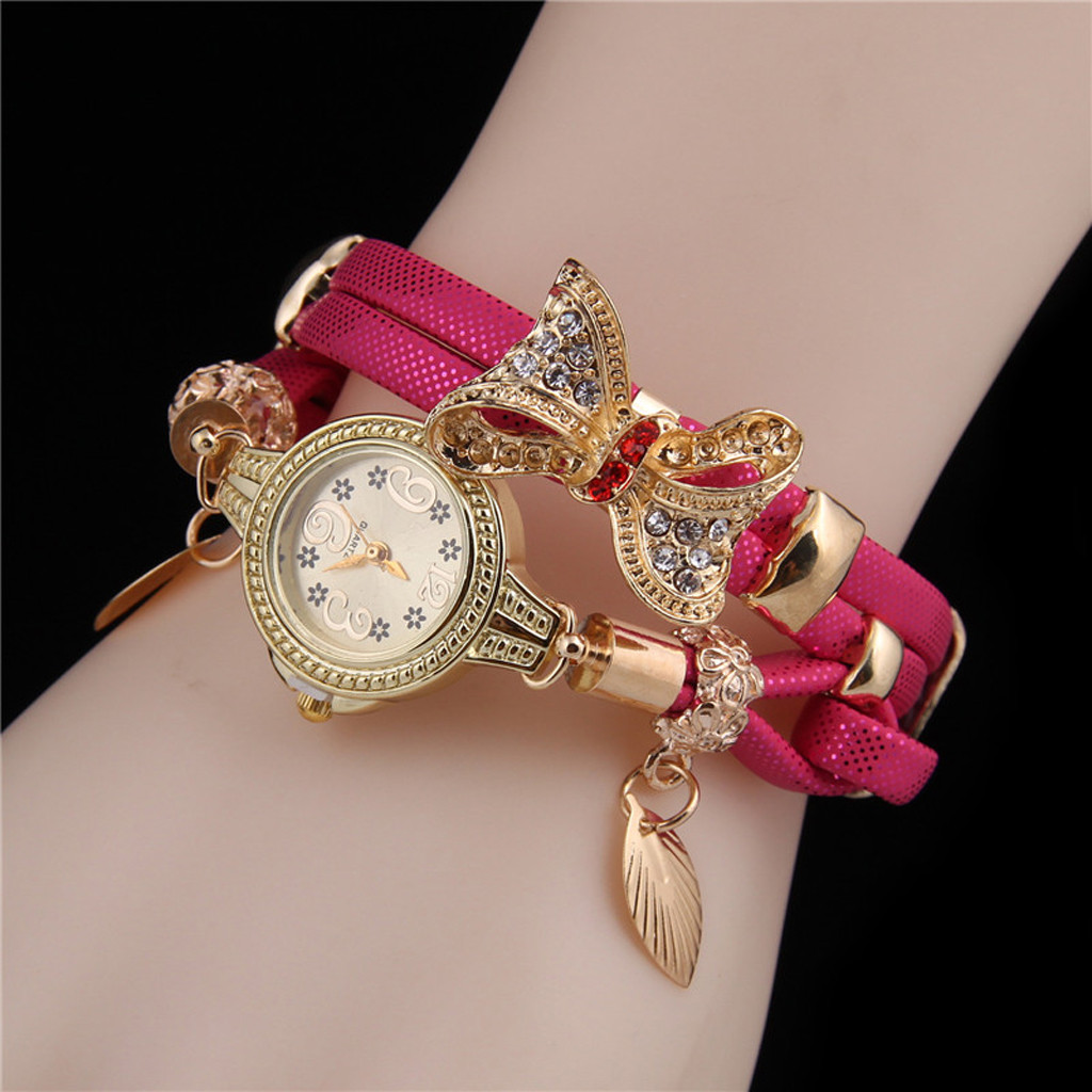 Women Watches Luxury Brand Butterfly Retro Rhinestone Bracelet Watches Women Lovely Wedding Quartz Watches Relogio Feminino