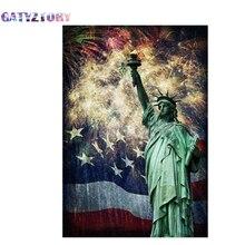цена на GATYZTORY Full square drill 5d diy diamond painting new york city landscape 3d diamond mosaic liberty goddess icon handmade