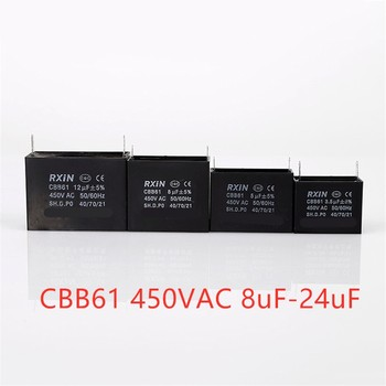 1 Uds CBB61 que capacitancia AC ventilador condensador 450V AC8uF/10 uF/12 uF/14 uF/15 uF/16 uF/18 uF/20 uF/24 uF 50/60Hz Motor condensador