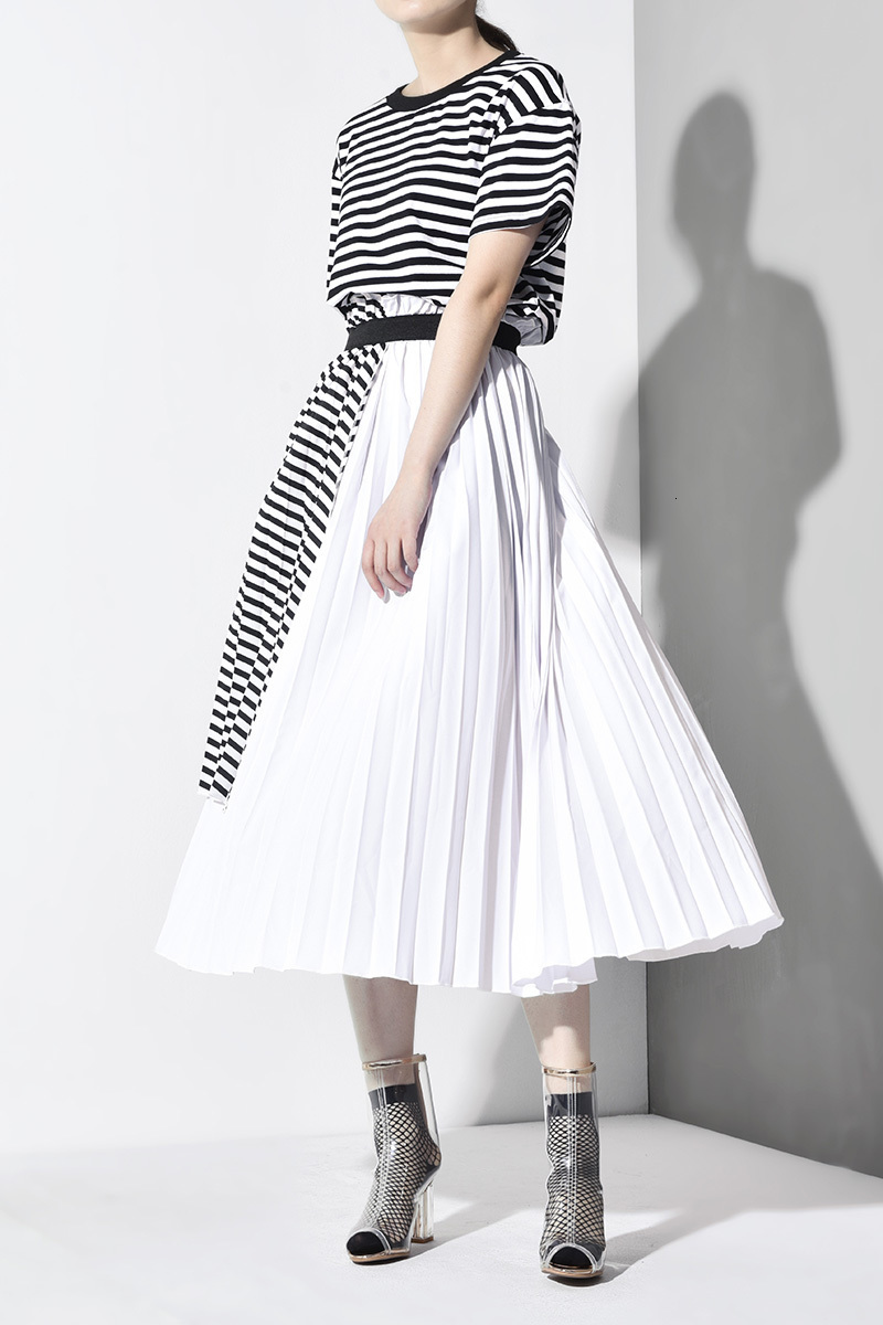 New Fashion Style Short Sleeve Striped Bandage Spliced Paneled Long Dress Fashion Nova Clothing