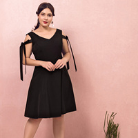 A line Homecoming Dress 2020 Classic Black Satin Dress Knee length Sleeveless Zipper up Dresses with Two Bows for Cocktail Party