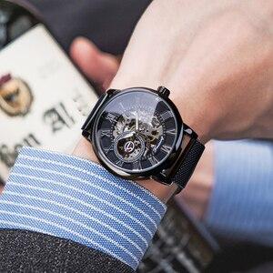 Image 5 - Forsining Retro Fashion Design Skeleton Sport Mechanical Watch Luminous Hands Transparent Mesh Bracelet For Men Top Brand Luxury