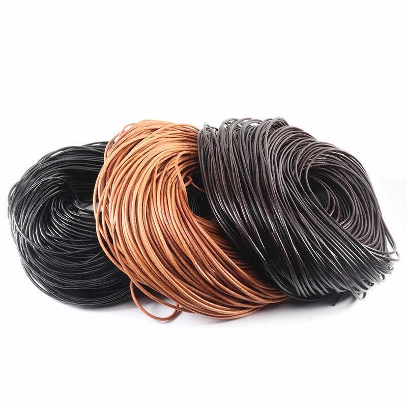 100% prawdziwej skóry okrągły stringi przewód skórzany sznur ciąg liny dla naszyjnik DIY bransoletka DIY tworzenia biżuterii Dia 1/1/1/2/3/4/5mm