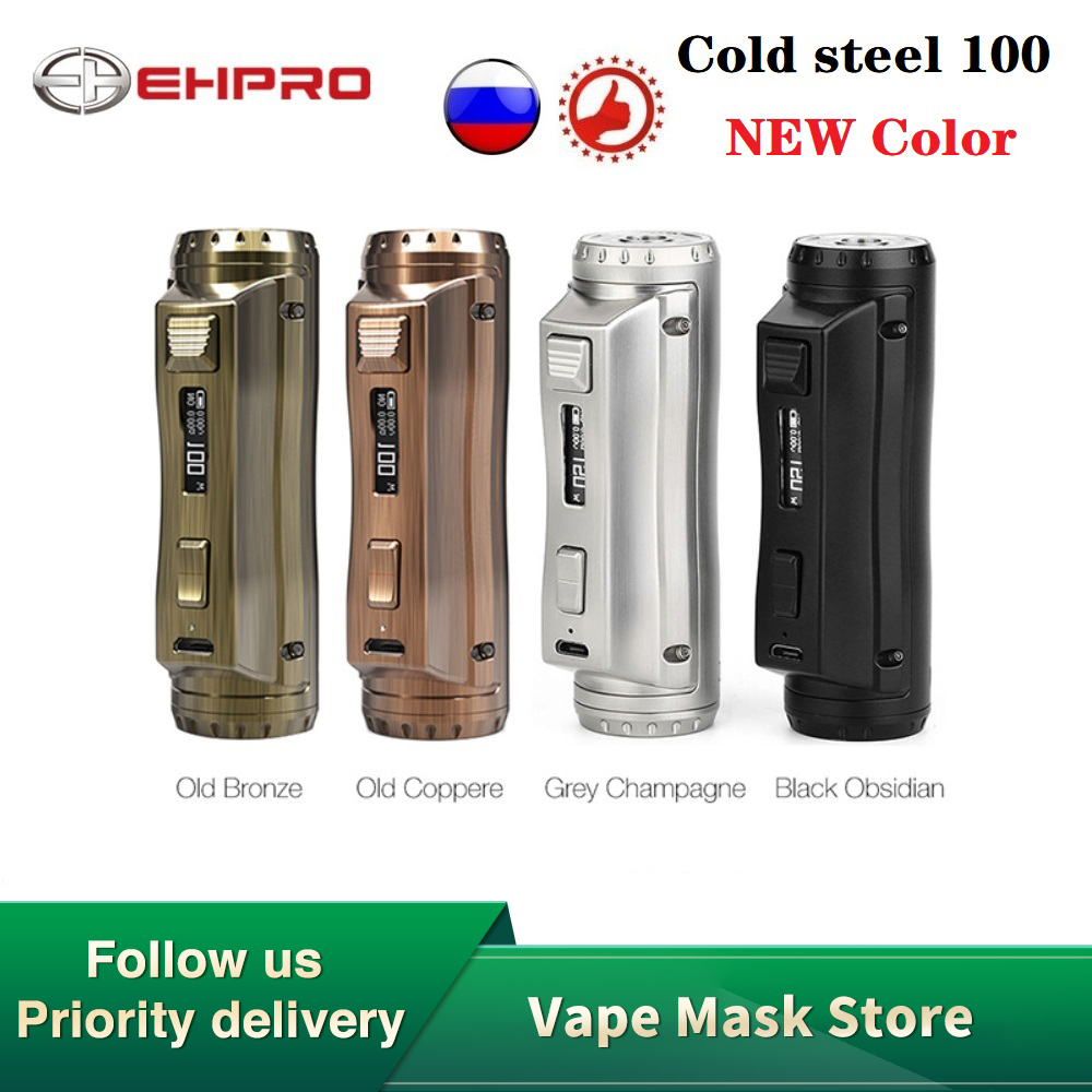 Newest Hot Sale Ehpro Cold Steel 100 120W TC Box MOD With 0.0018S Firing Speed Power By 18650/20700/21700 Battery Vs Drag 2 Mod