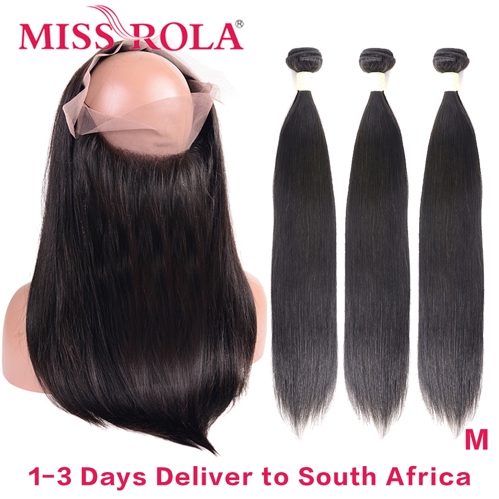 Miss Rola Hair 360 Lace Frontal Closure With 3 Bundles Natural Color Peruvian Straigh Remy Human Hair Extension Middle Ratio