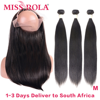 Miss Rola Hair 360 Lace Frontal With 3 Bundles Natural Color Peruvian Straigh Human Hair Extension Middle Ratio Remy Hair