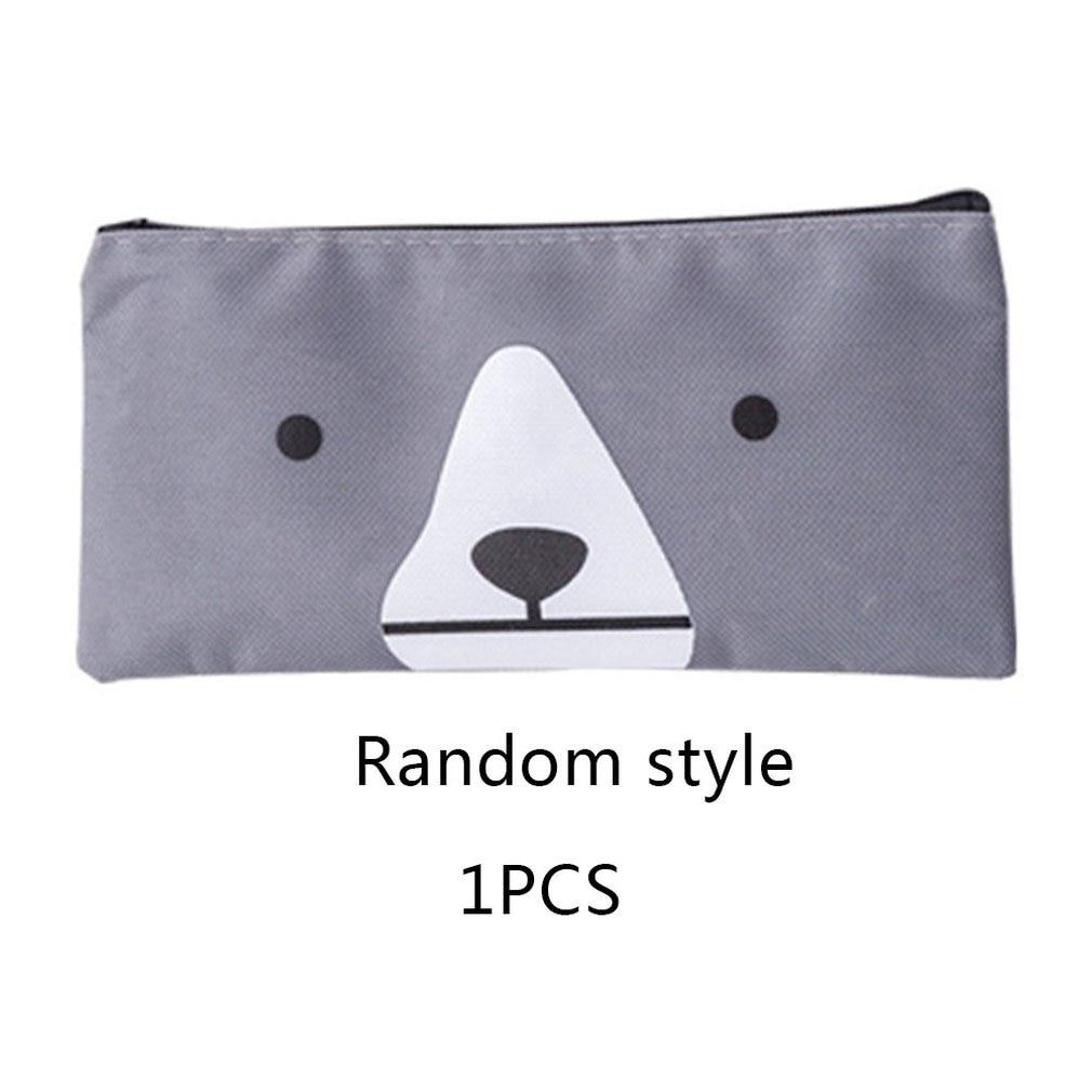 Pencil Bag Triangle Creative Cat Cartoon Canvas Pencil Case Simple Large Capacity