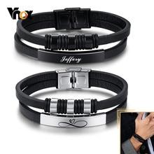 Vnox personnalisé Bracelets en cuir pour hommes perles noires bracelet à breloques en couches bracelet en polyuréthane décontracté bijoux masculins cadeau de noël significatif