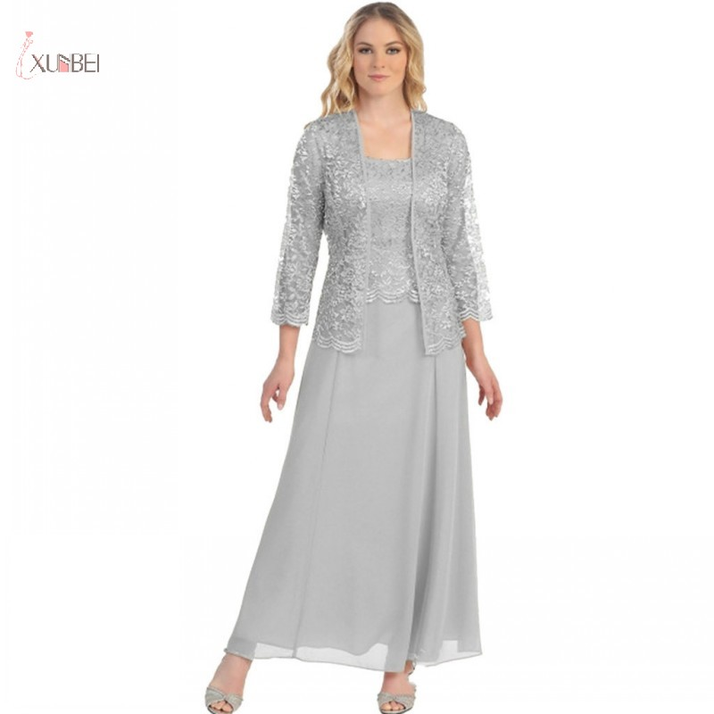 Chiffon Mother Of The Bride Dresses Suit Lace Jacket Long Sleeve Wedding Party Dress Open Front Robe Mere De La Mariee 2019