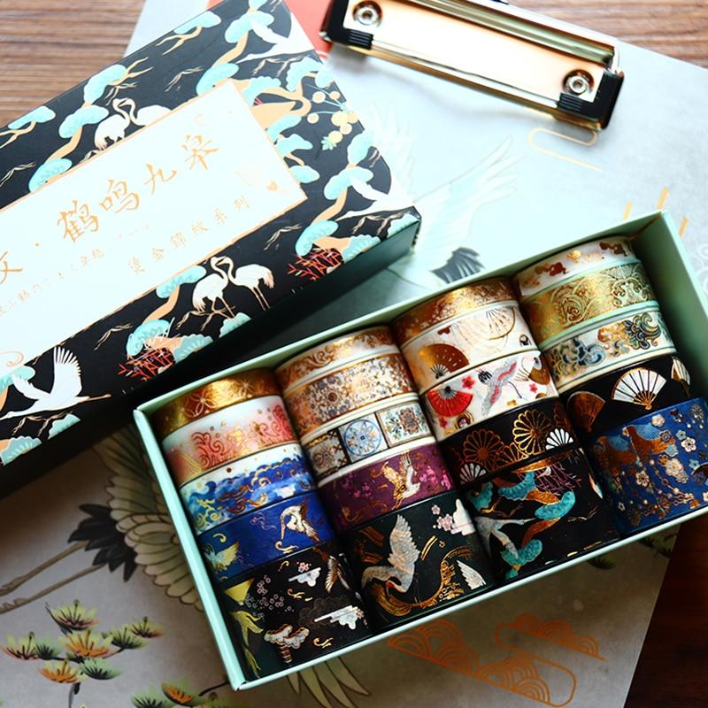 20pcs Vintage Gold Foil Washi Tape Set Crane Cosmic Fantasy Sakura Flower Adhesive Masking Tapes DIY Decoration Sticker A6157