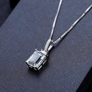 Image 2 - Gems Ballet 925 Sterling Zilveren Sieraden Set Voor Vrouwen Natuurlijke Octagon Groene Amethist Oorbellen Ring Hanger Set Fijne Sieraden