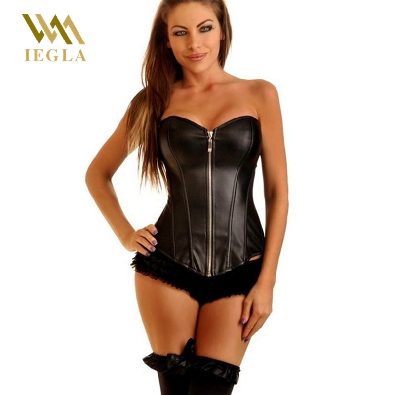 Leather   Corset   Sexy Women Steampunk   Bustier   Zipper Black Sexy Overbust Corse Para Mujer   Corsets   And   Bustiers   Shaperwear