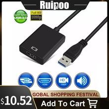 USB 3.0 Zu HDMI weibliche Audio Video Adapter Konverter Kabel Für Windows 7/8/10 PC