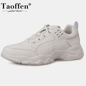 Taoffen Women Real Leather Sneakers Shoes Fashion Vulcanized Women Shoes Lace Up Round Toe Casual Women Footwear Size 35-39(China)