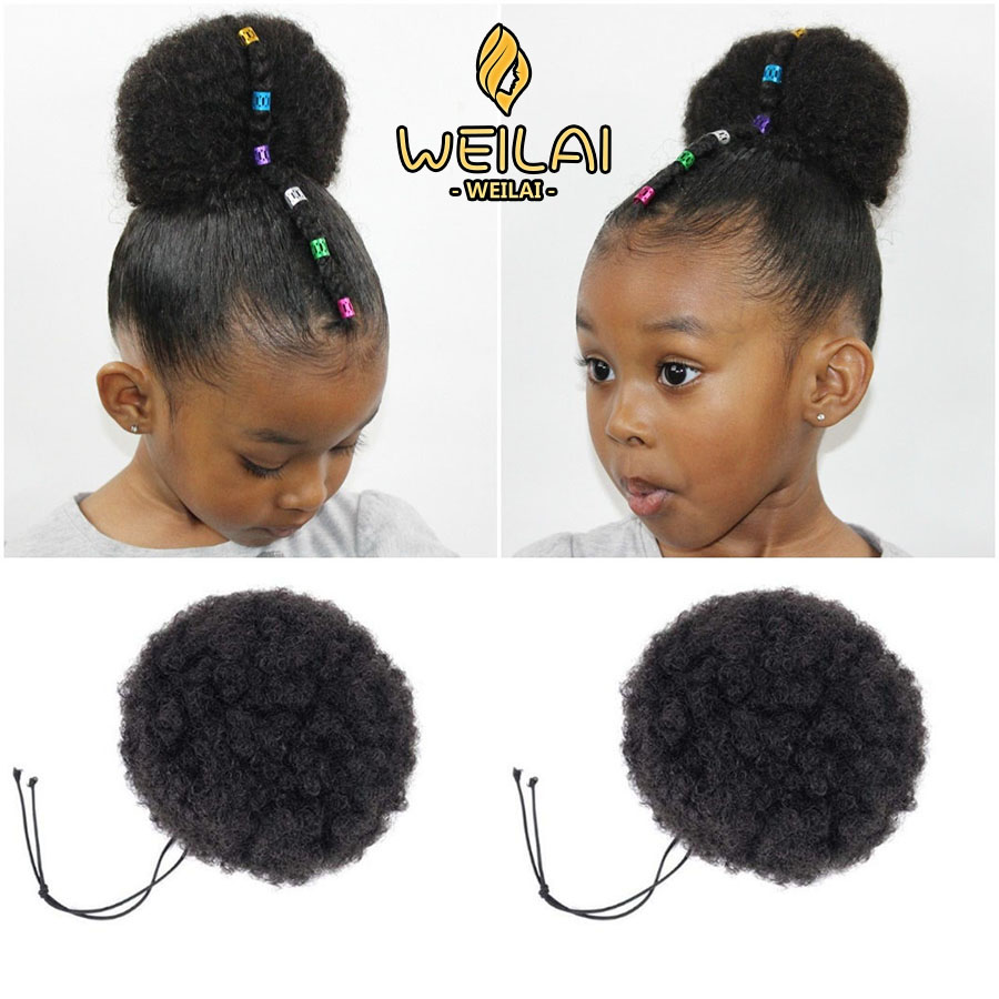 WEILAI Afro Bun Children Boys Girls Curly Scrunchie Chignon With Rubber Band Synthetic Buns For Black Hair Ring Wrap Ponytails