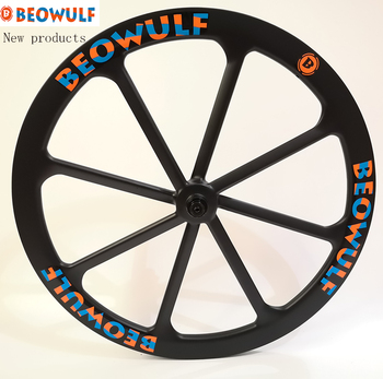 Beowulf New super light road bike carbon wheels 700C 25mm wide 45mm depth 8 spokes tubular v / 6 bolts disc break center lock image