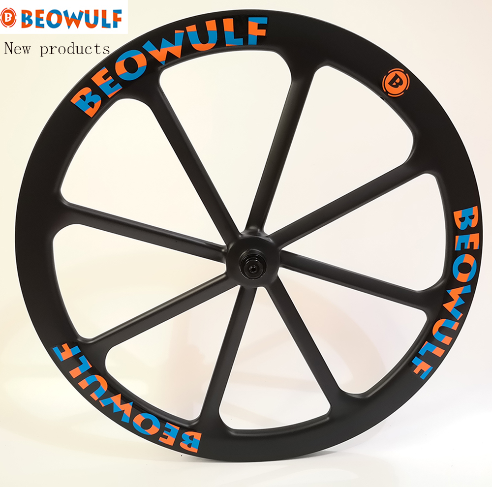 Beowulf New super light road <font><b>bike</b></font> carbon <font><b>wheels</b></font> 700C 25mm wide 45mm depth 8 <font><b>spokes</b></font> tubular v / <font><b>6</b></font> bolts disc break center lock image