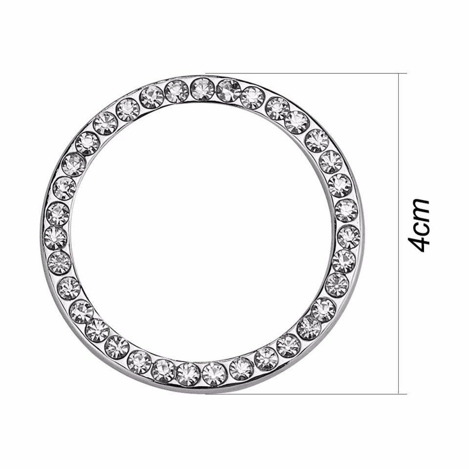 For Auto Car Decorative Accessories Button Start Switch Silver Diamond Ring
