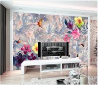Custom photo wallpaper for walls 3 d mural wallpaper Tropical Rainforest Flower mural Retro TV Background Wall papers home decor
