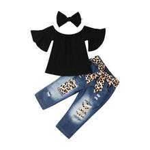 New Fashion Toddler Kids Baby Girl Off shoulder Ruffle Shirt T shirt Denim Jeans Leopard Pants Headnband Outfit 3PCS Clothes Set(China)