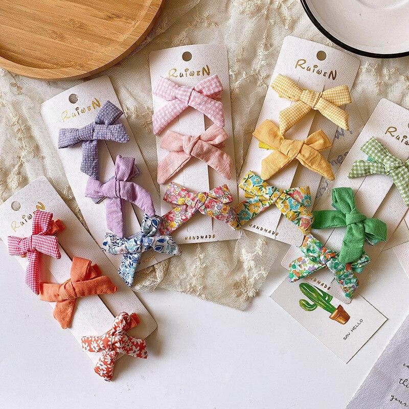Barrette de canard en tissu, 3 pièces, motif coréen, adorable, motif Floral, accessoires pour cheveux, simples, à la mode, pour filles