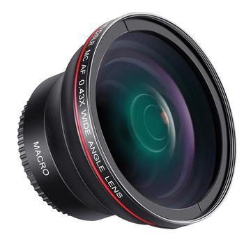 Neewer 52MM 0.43x Professional HD Wide Angle Lens (Macro Portion) for NIKON D7100 D7000 D5500 D5300 D5200 D5100 DSLR Cameras macro camera lens reverse adapter protection set for nikon d80 d90 d3300 d3400 d5100 d5200 d5300 d5500 d7000 d7100 d7200 d5 d610