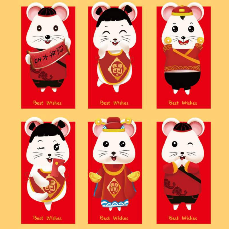 2020 Cute Cartoon Red Pocket Chinese New Year Money Packet Spring Festival Zodiac Red Envelope Party Gift Bag Each Other