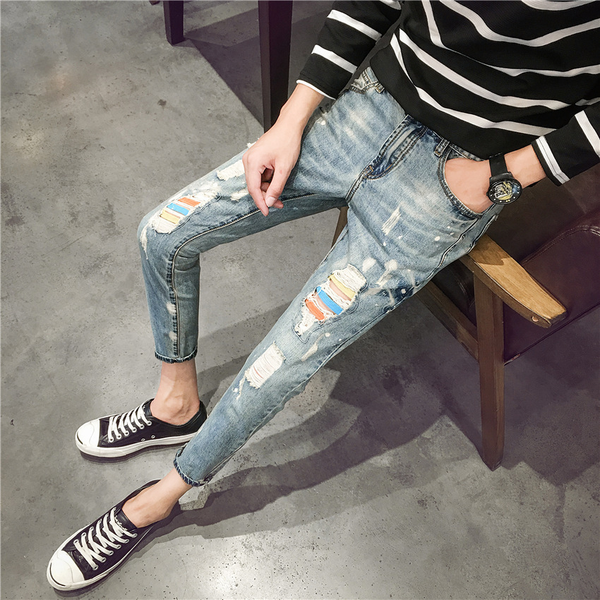 Summer New Style Trend Slim Fit With Holes Men Skinny Jeans Paint Capri Jeans Ripped Jeans
