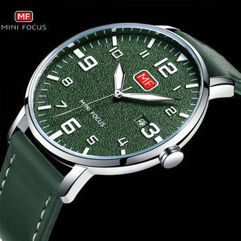2020 Fashion Casual Watch Men Date Display Genuine Leather Strap Green Dial Arabic Number MINI FOCUS relogio masculino