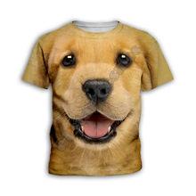 Cara de cachorro bonito, roupas infantis, camiseta infantil 3d, manga curta infantil casual 4t-14t