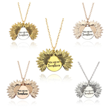Hot Women Gold/Silver Necklace Custom You Are My Sunshine Open Locket Sunflower Pendant Free Drop Shipping