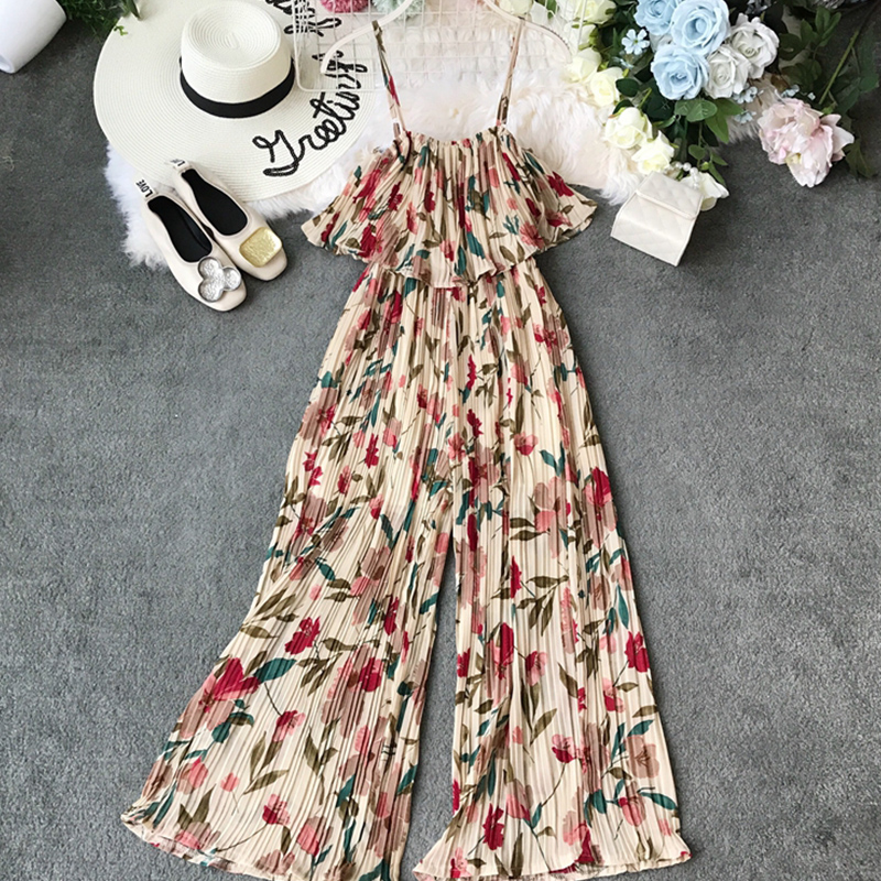 Women Summer Bohemian Jumpsuit 2019 Ankle-Length Holiday Chiffon Ruffles Spaghetti Strap Beach Style Print Jumpsuits Rompers