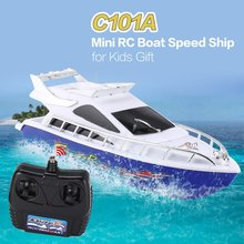 C101A Mini Radio Remote Control RC High Speed Racing Boat Ship for Kids Children Gift Present Toy Simulation Model