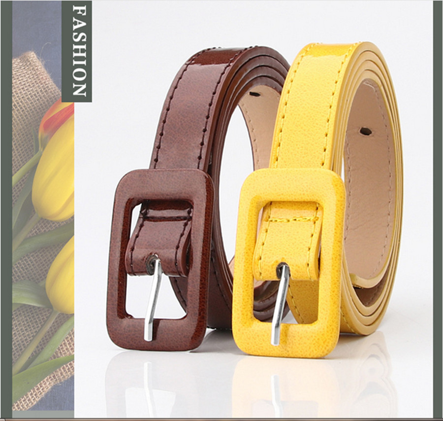 2020 Ladies Patent Leather Belt Simple Rectangular Pin Buckle Korean Fashion Wild Decorative Sweater Dress Belt