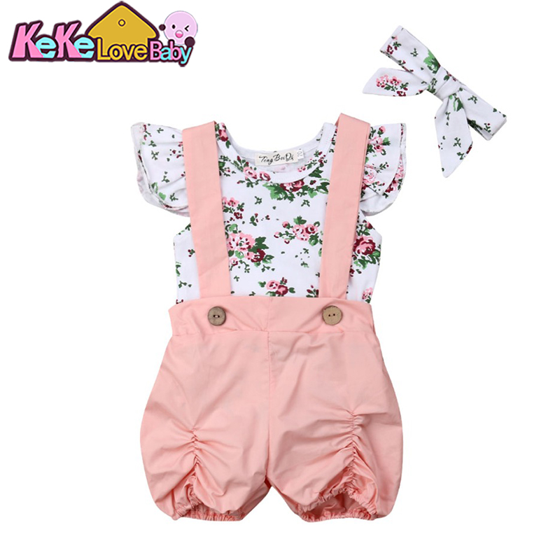 Newborn Baby Girl Summer Clothes Sets Ruffle Romper Bib Pants Headbands Flower 3Pcs Outfits Infant Toddler Girls Clothing Set