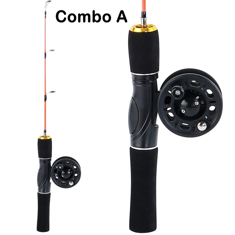 Sougayilang 48cm Mini Ice Fishing Rod Ice Fishing Rod Reel Combo  Winter Fishing Pole With Ice Reel Combo Fishing Tackle Tool