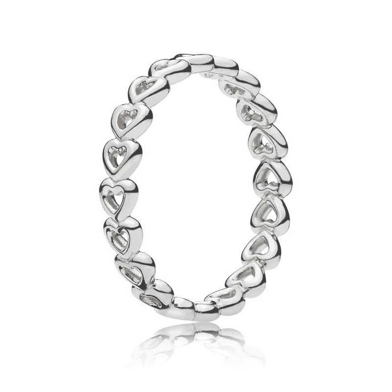 เงินรูปหัวใจสีแหวนผู้หญิงยุโรป Crown Crown Fine Finger แหวนเครื่องประดับ 50 รูปแบบ Dropshipping