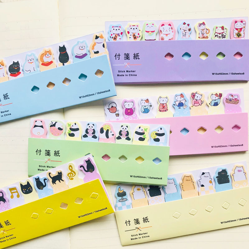 1X Kawaii Cat Panda Index Memo Pads Sticky Notes Stationery Notepad